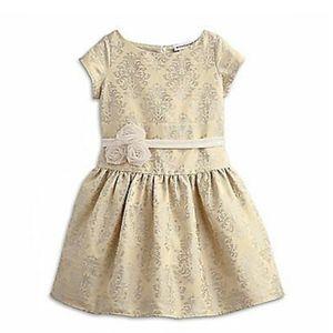 American girl cream gold brocade dress 12
